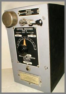 Photo of the front panel showing the cat's whisker crystal detector and the tuning dial