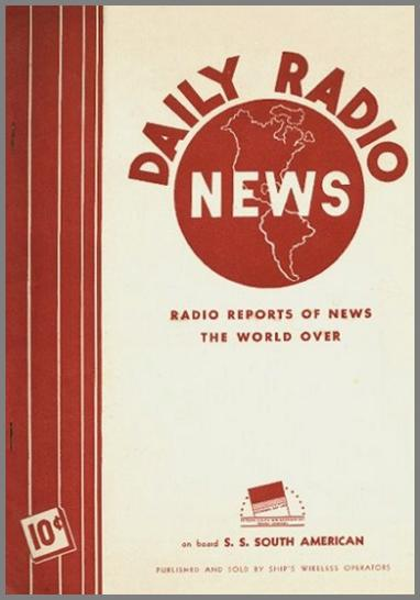 Image of the front cover of the Daily Radio News published on the SS South American