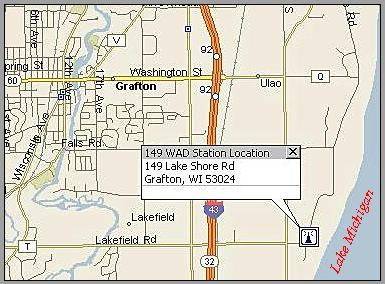 Map showing the location of WAD at 149 Lake Shore Rd. in Grafton,WI