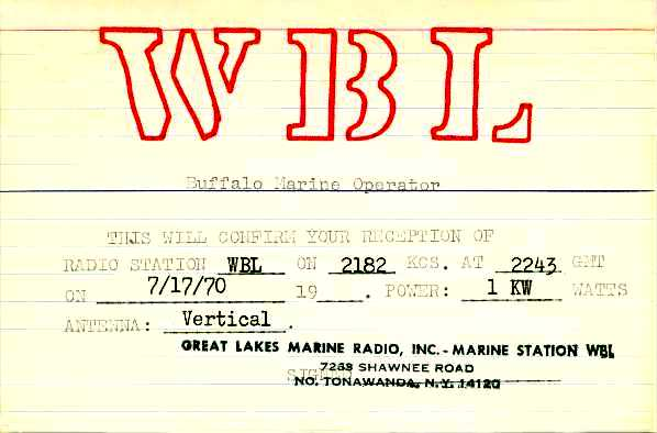 WBL QSL card dated 7/17/70.