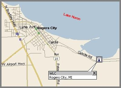 Map showing WLC's huron lake shore location