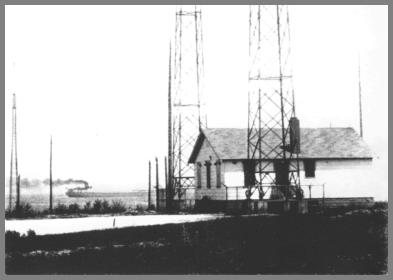 WLC building - Ca. 1947 - Ship in background