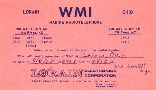 8/8/1968 WMI QSL card signed by W. A. Goodell